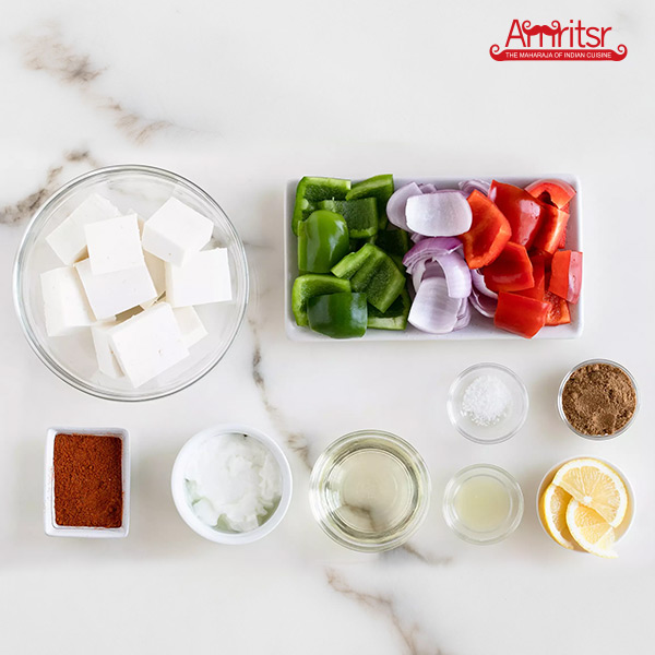 Cut Paneer cubes and vegetables